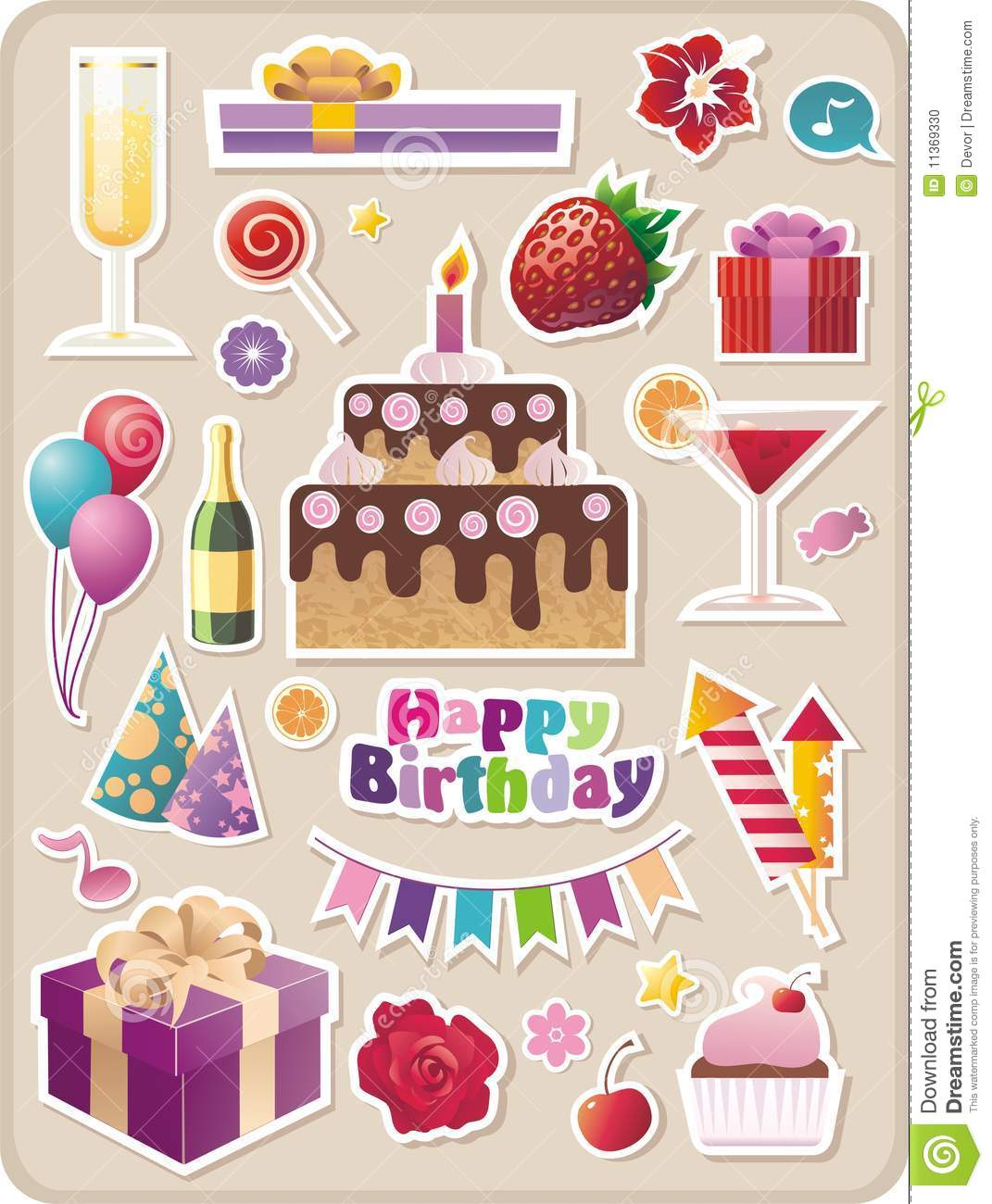 Birthday And Party Stickers Stock Photo Image 11369330