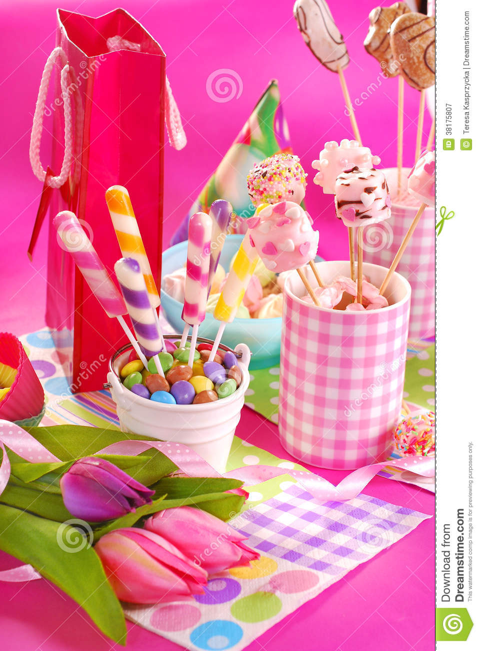 Birthday Party Table With Flowers And Sweets For Kids Stock Image