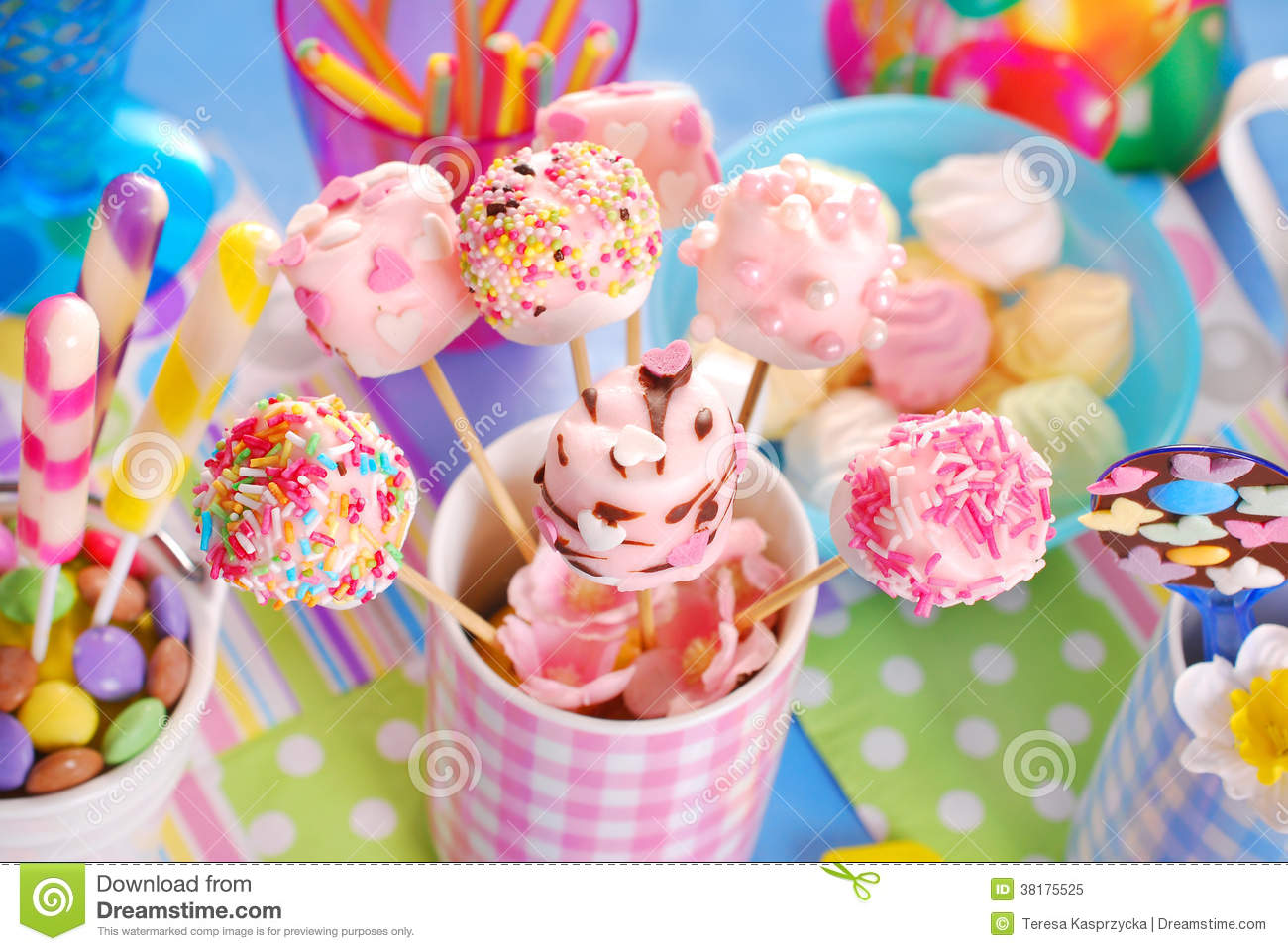 Birthday Party Table With Marshmallow Pops And Other