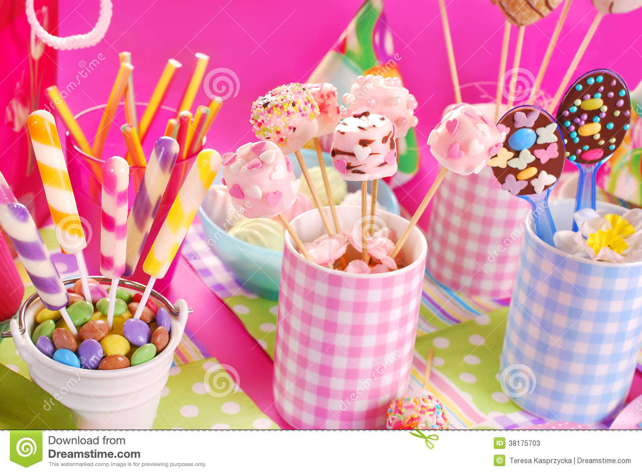 Birthday Party Table With Marshmallow Pops And Other Sweets For Stock ...