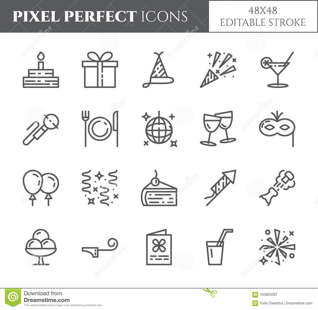 Birthday party theme pixel perfect thin line icons. Set of elements of cake, present, champagne, disco, firework and other enterta
