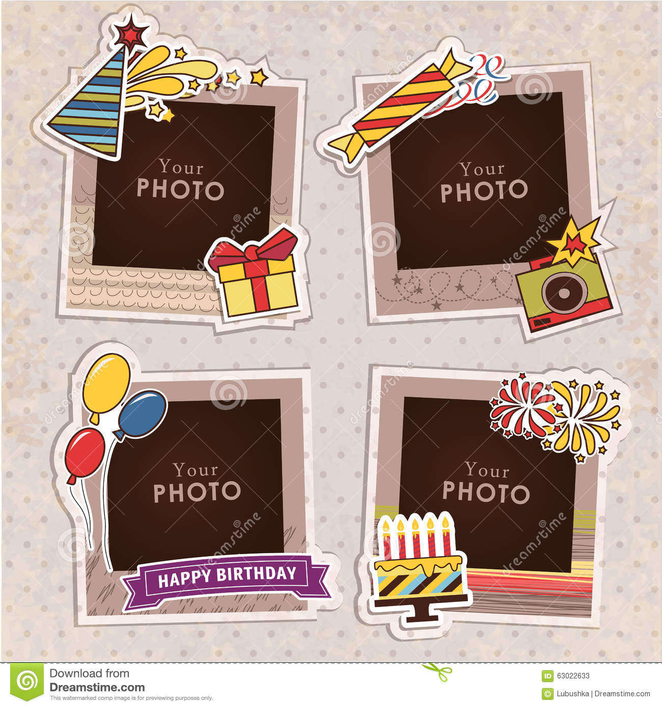 a297f209610e Design photo frames on nice background. Decorative template for baby