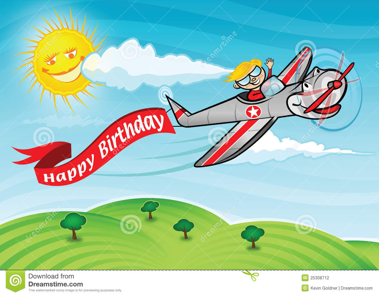 Birthday Plane Stock Vector Illustration Of Cartoon