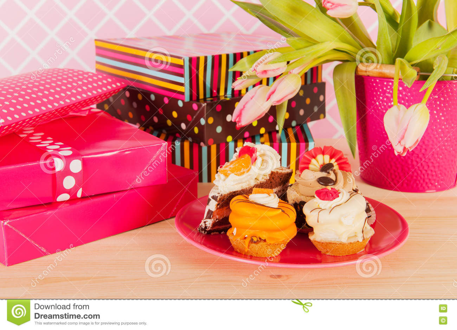 Birthday presents and fancy cakes stock image image of home presents and birthday cakes with flowers izmirmasajfo