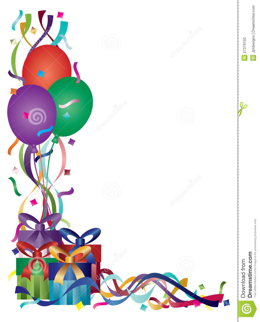 Birthday Presents with Colorful Ribbons and Confetti Border Background ...