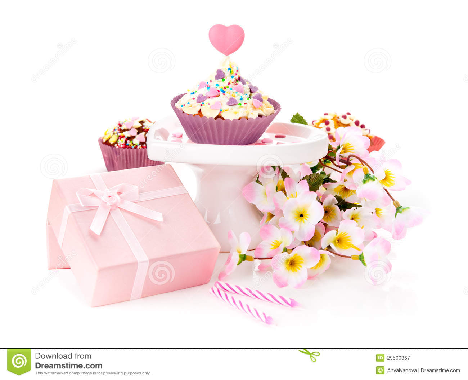 Birthday Presents On White Background Stock Image Image