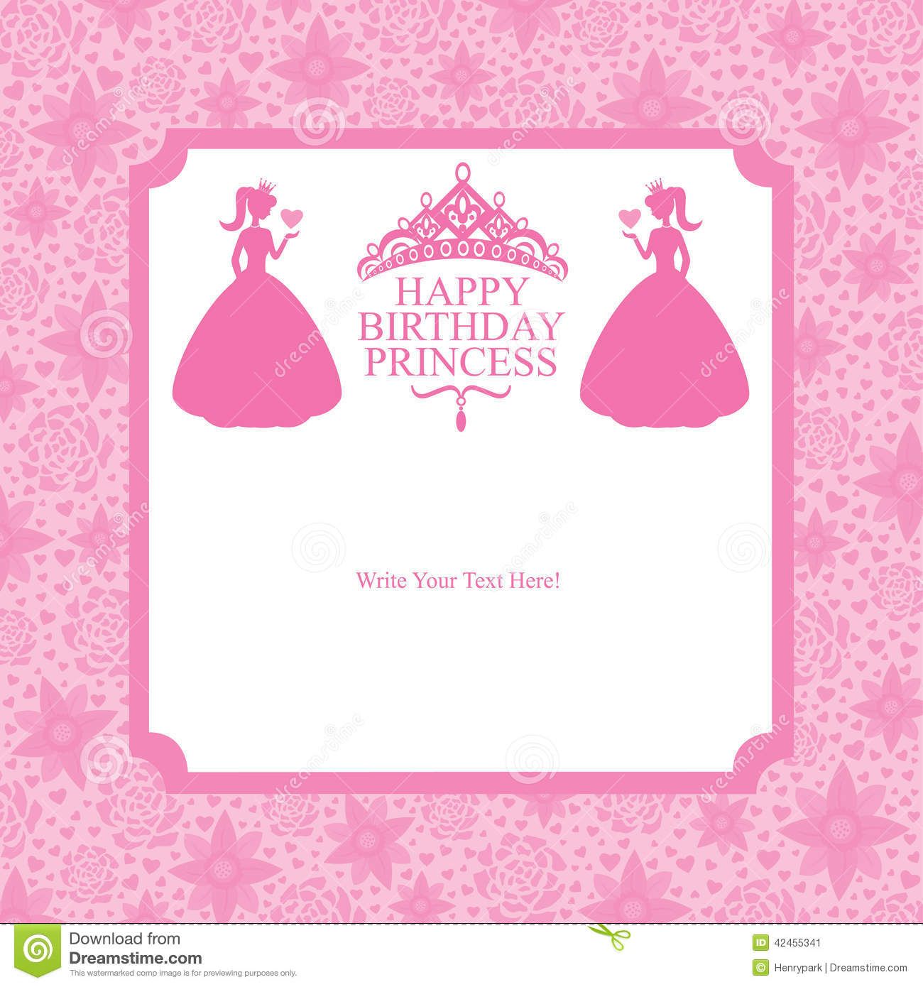 birthday princess card design stock vector  image, Birthday card