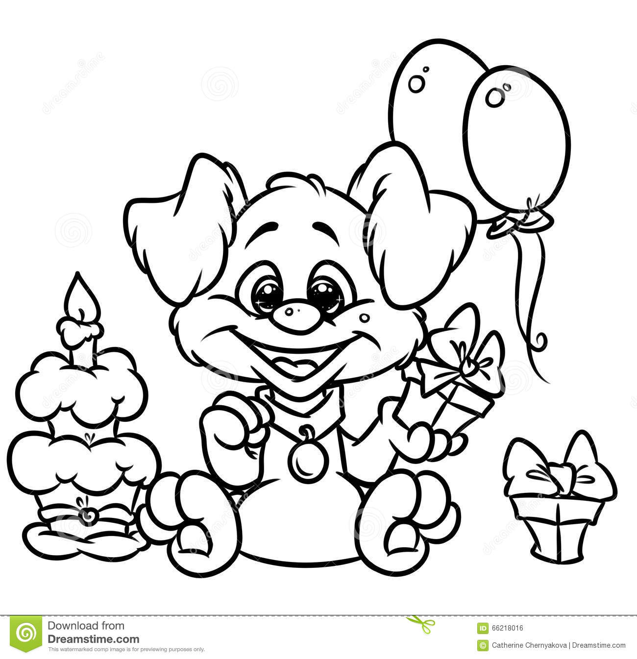 Birthday Puppy Coloring Pages Stock Illustration - Illustration of ...