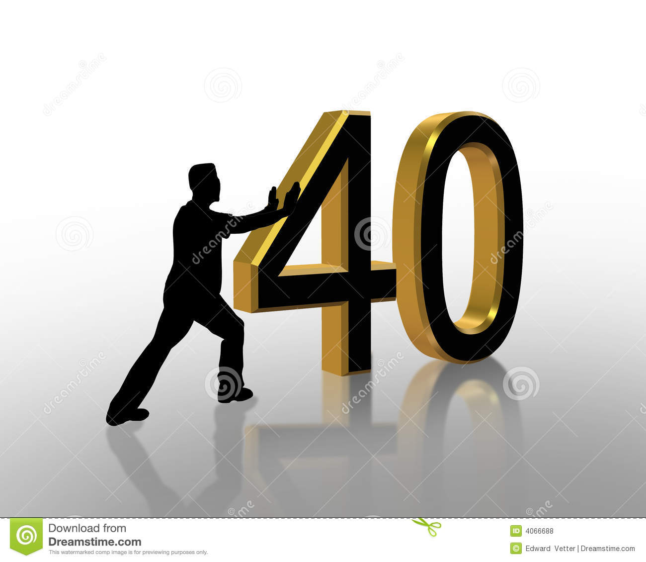 3D Illustration Of Man Pushing Numbers For Birthday Card Or Background