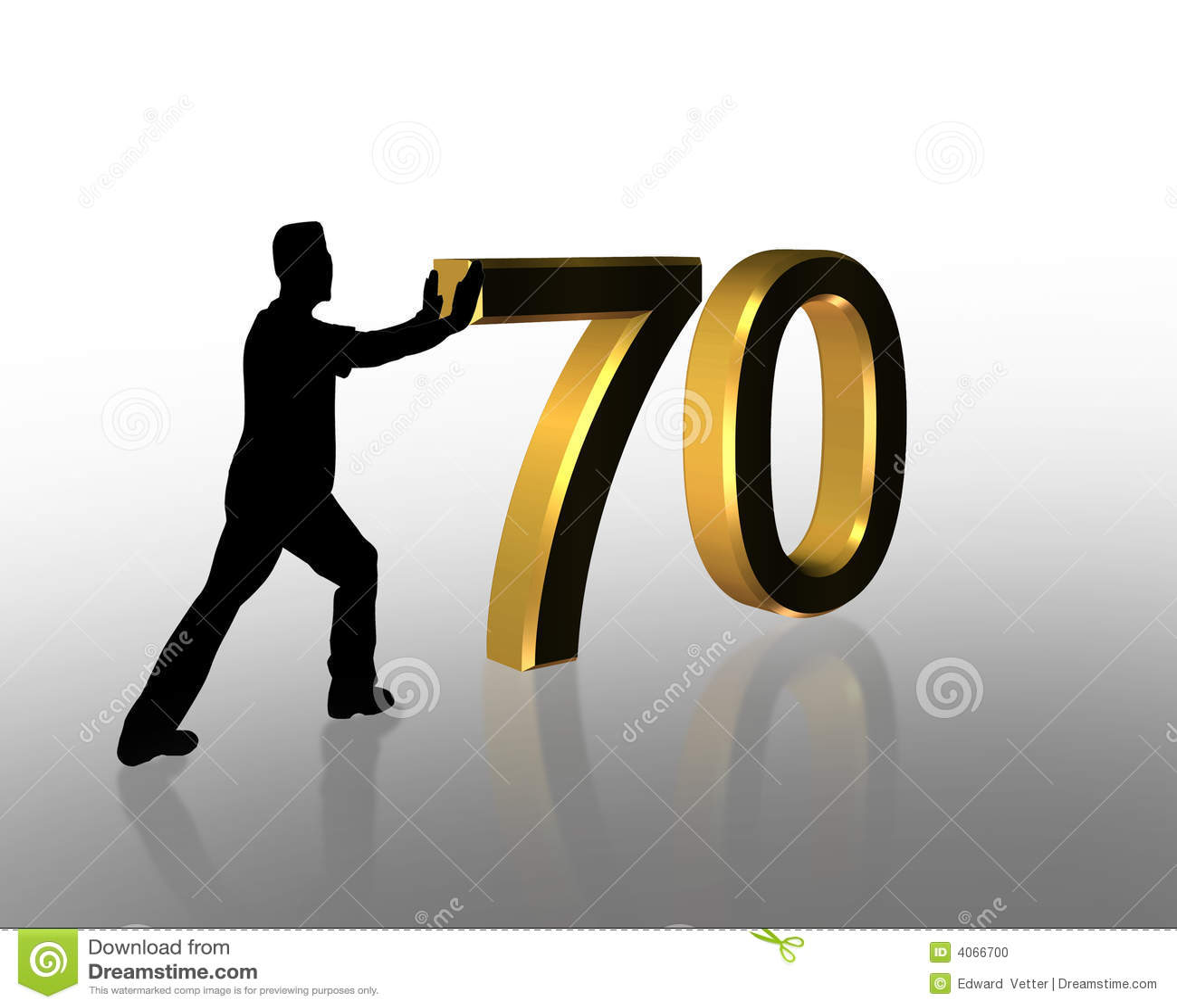 Birthday Pushing 70 3D Graphic Stock Image