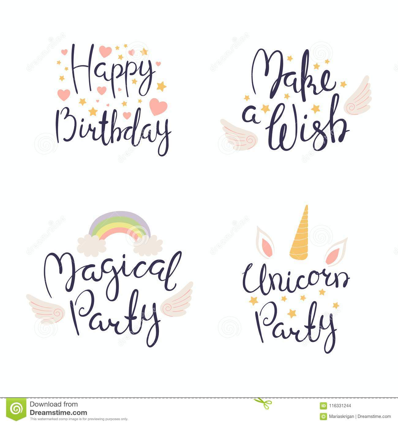 Birthday quotes set stock vector  Illustration of collection