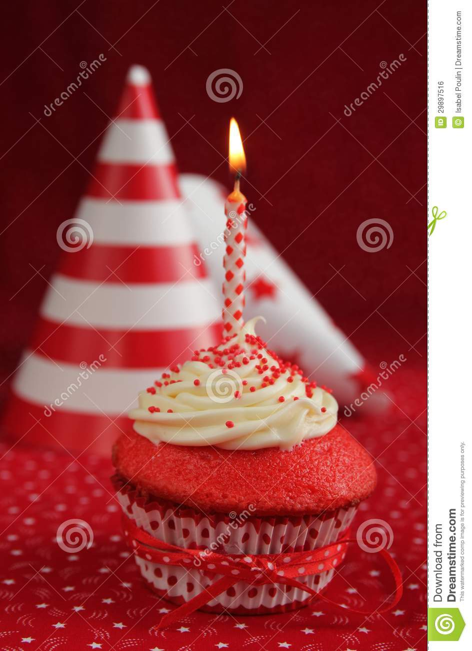 Birthday Red Velvet Cupcake Royalty Free Stock Image