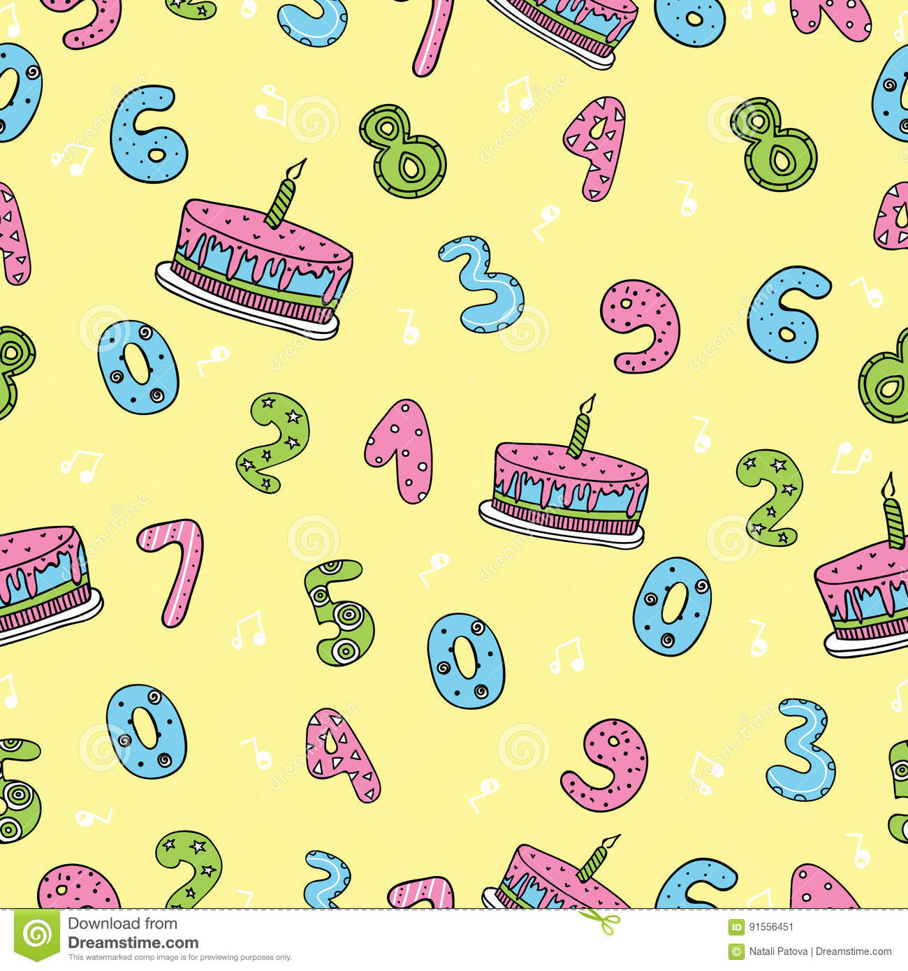 Birthday seamless pattern with cute numbers cakes music notes on birthday seamless pattern with cute numbers cakes music notes on yellow background design element for greeting card royalty free vector kristyandbryce Gallery