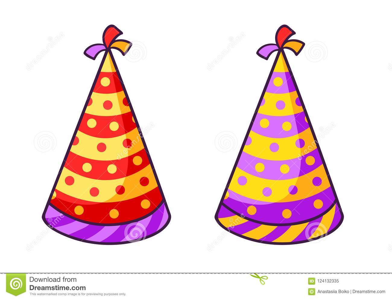 Birthday Striped Colorful Caps Stock Vector