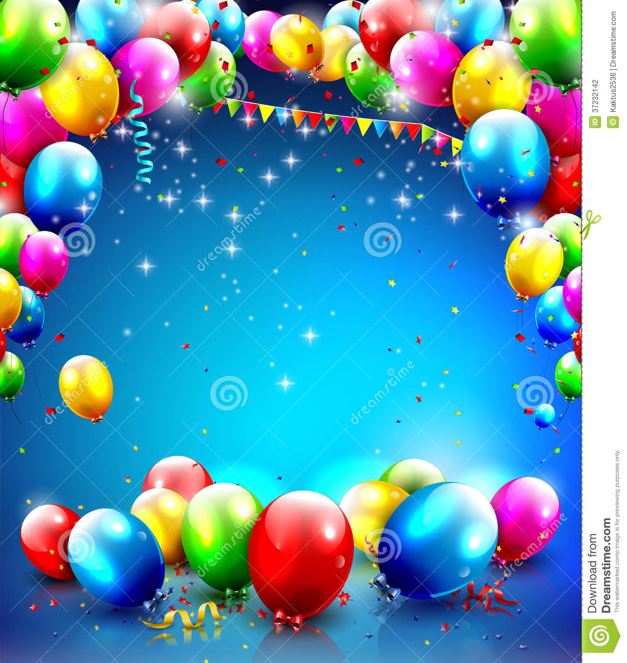 Birthday template with balloons and confetti on blue background.