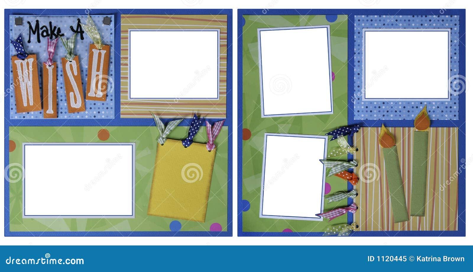 Birthday Theme Scrapbook Frame Template Royalty Free Stock Photo ...