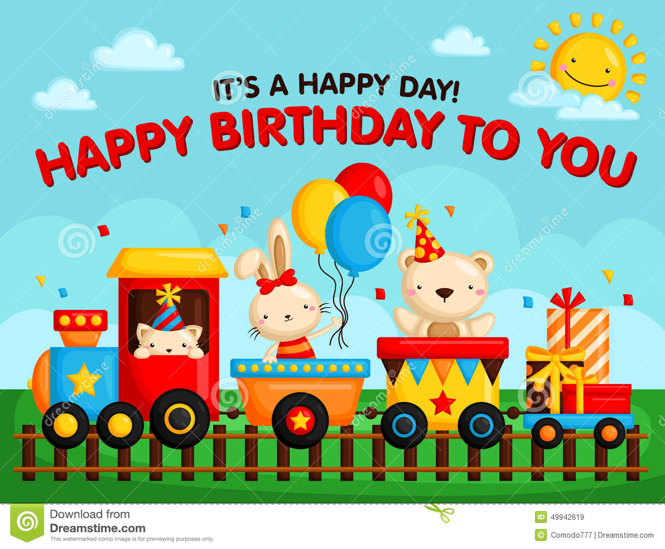 Birthday train card stock vector illustration of vector 49942619 birthday train card bookmarktalkfo Image collections
