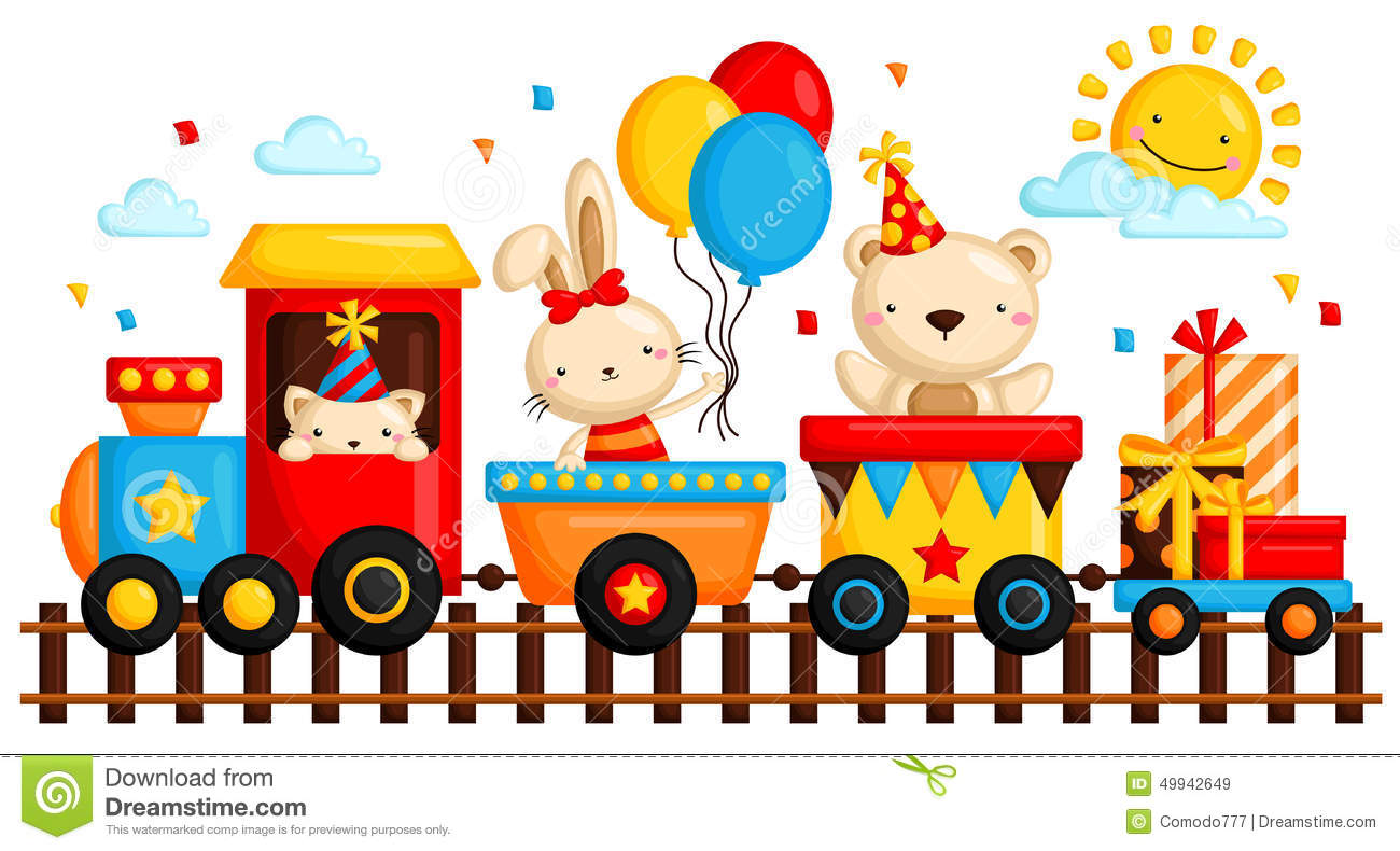 Birthday train stock vector. Illustration of traind