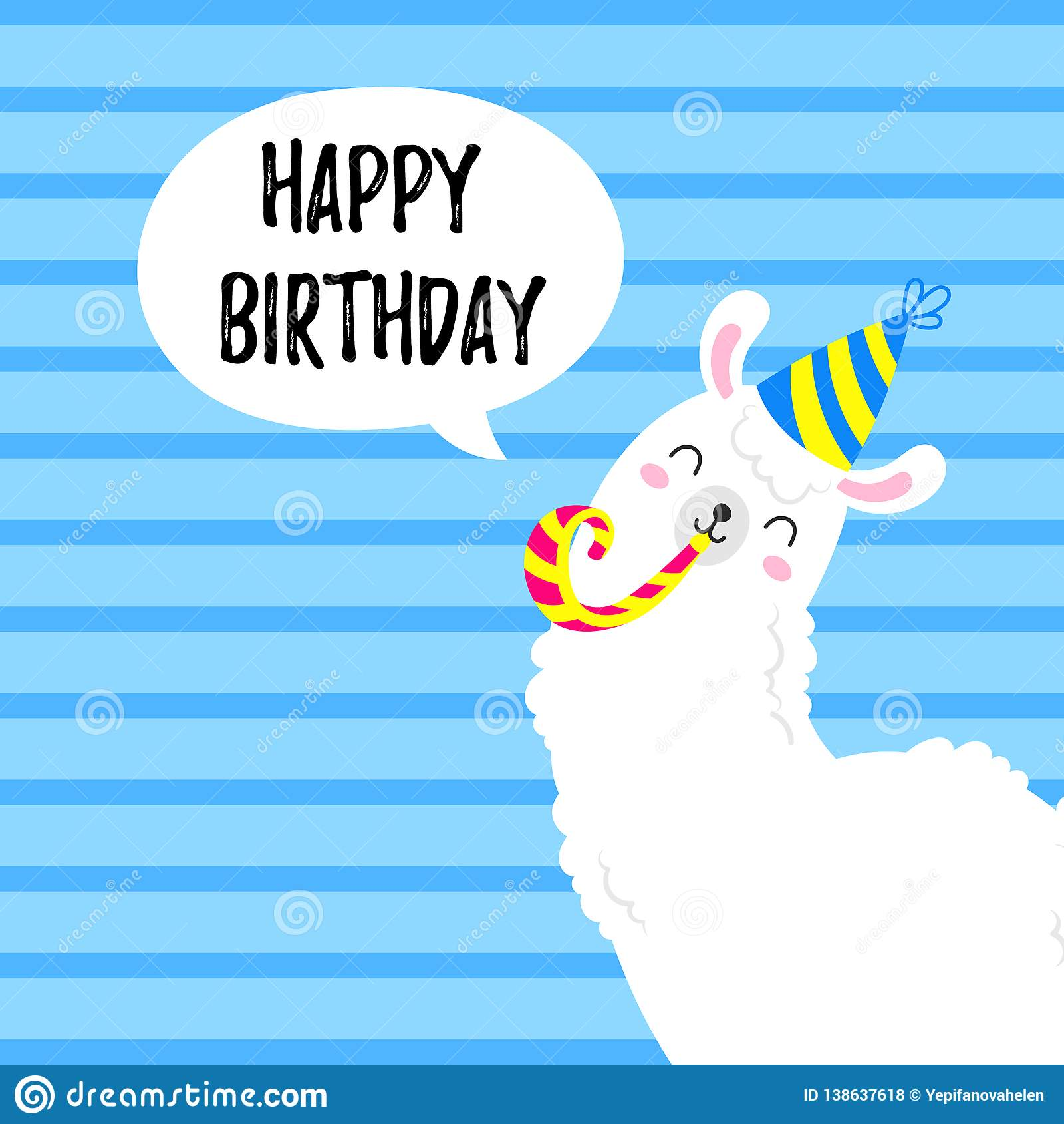 Birthday Vector Cartoon Greeting Card Design Doodle Illustration Template Background For Print