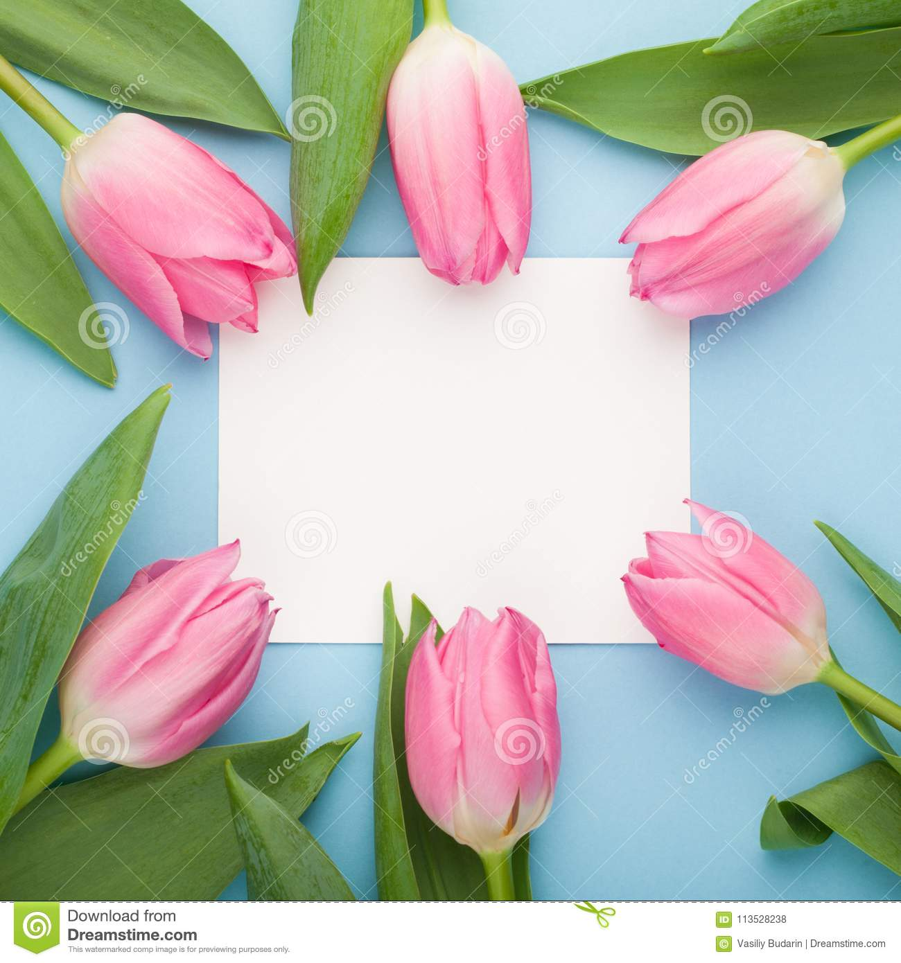 Birthday Or Wedding Mockup With White Paper List Pink Tulip Flowers