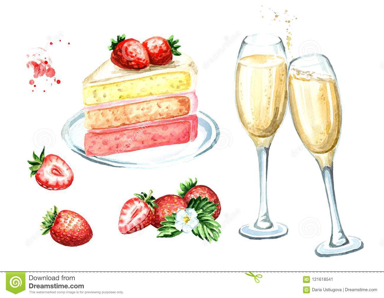 Birthday Or Wedding Set Strawberry Cake With Champagne Glasses Watercolor Hand Drawn Illustration