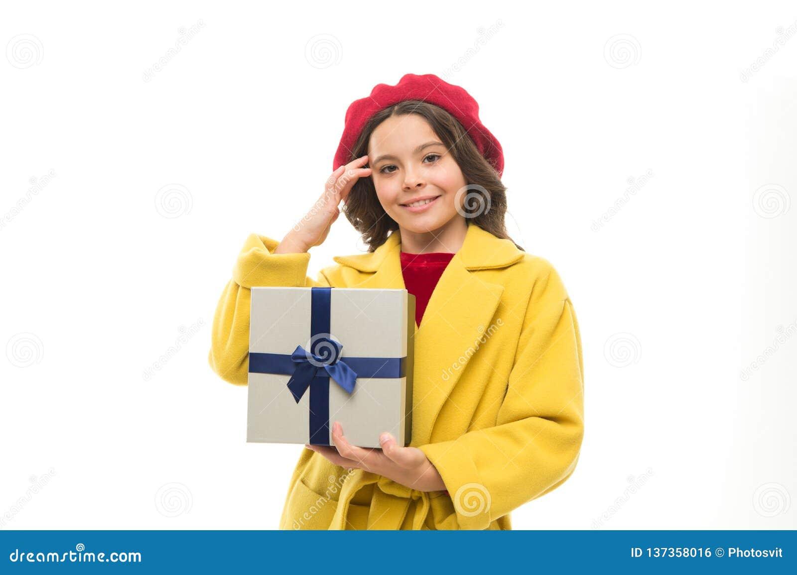 Birthday Wish List Girl Happy Kid Hold Gift Box Shopping
