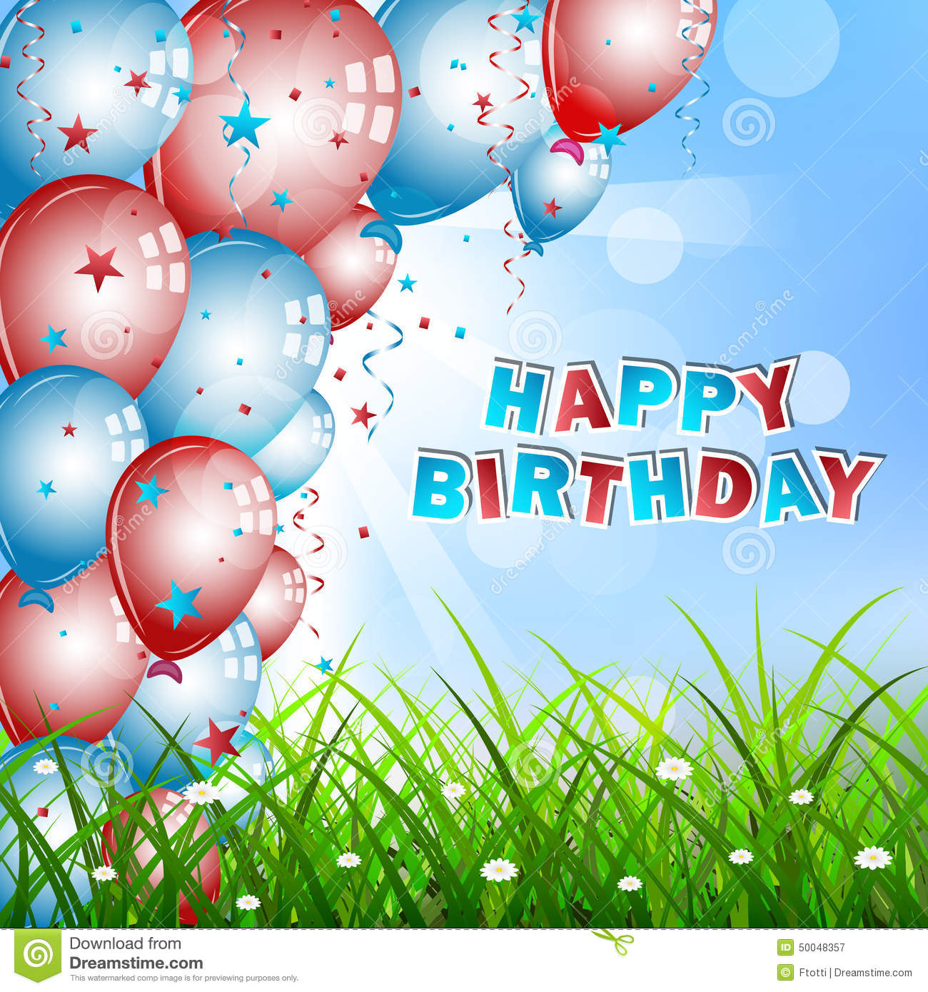 Birthday Wishes With Balloons Confetti Green Grass And Sky Illustration