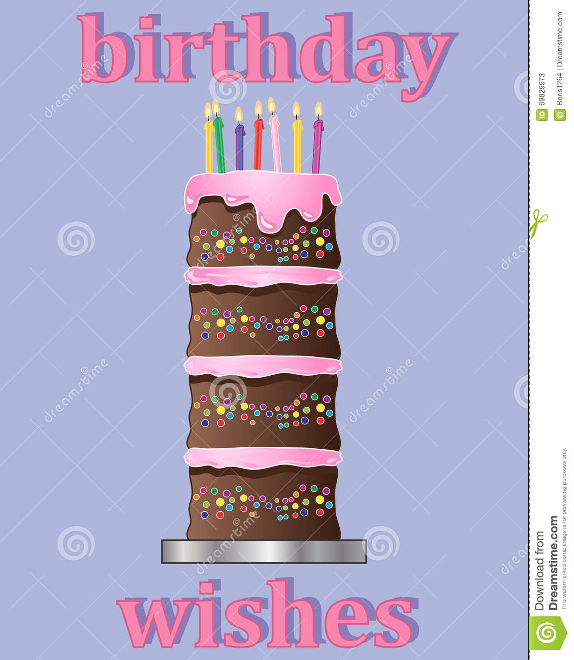 An Illustration Of A Birthday Greeting Card Design With Multi Layered Chocolate Cake Decorated Pink Frosting And Colorful Candles