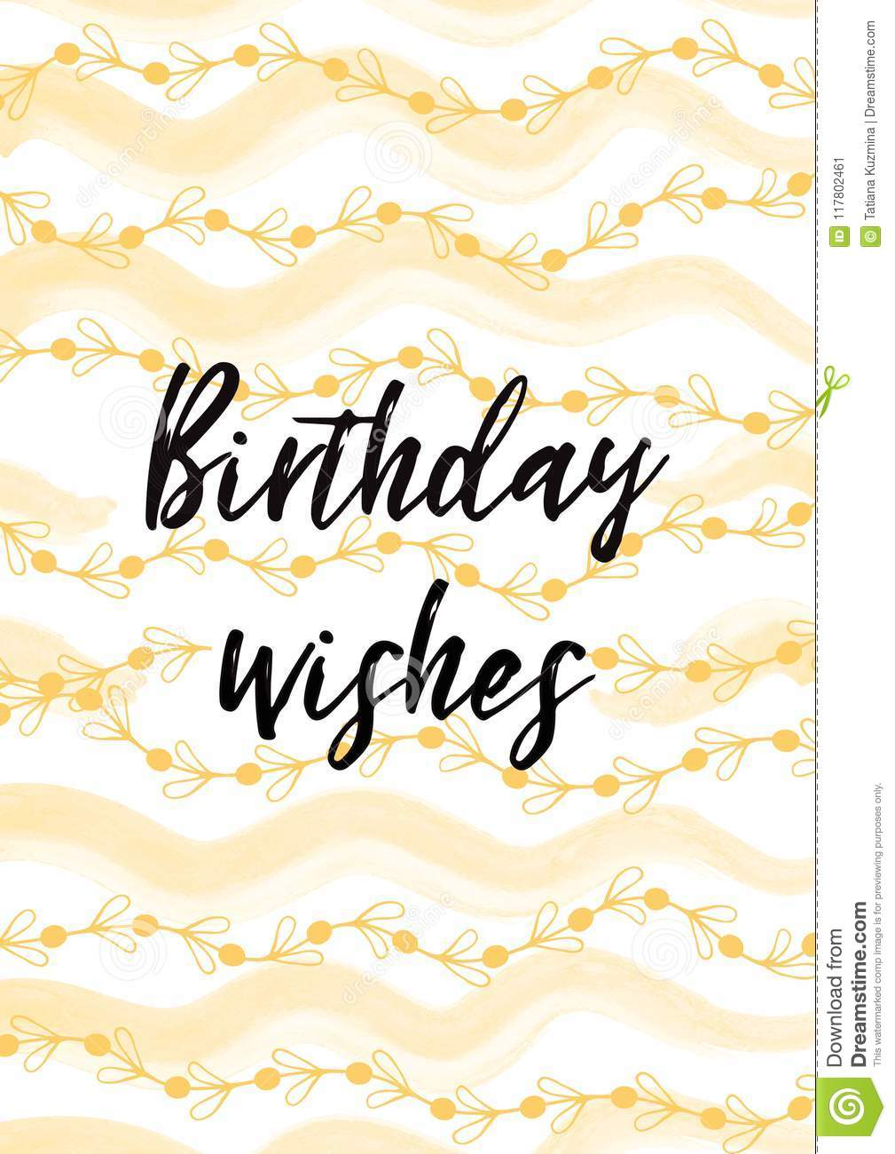 Birthday Wishes Vector Card Illustration Decorated Light Yellow Hand Drawn Ornament White Background Lettering Element Text Positive Clogan Cute Phrase