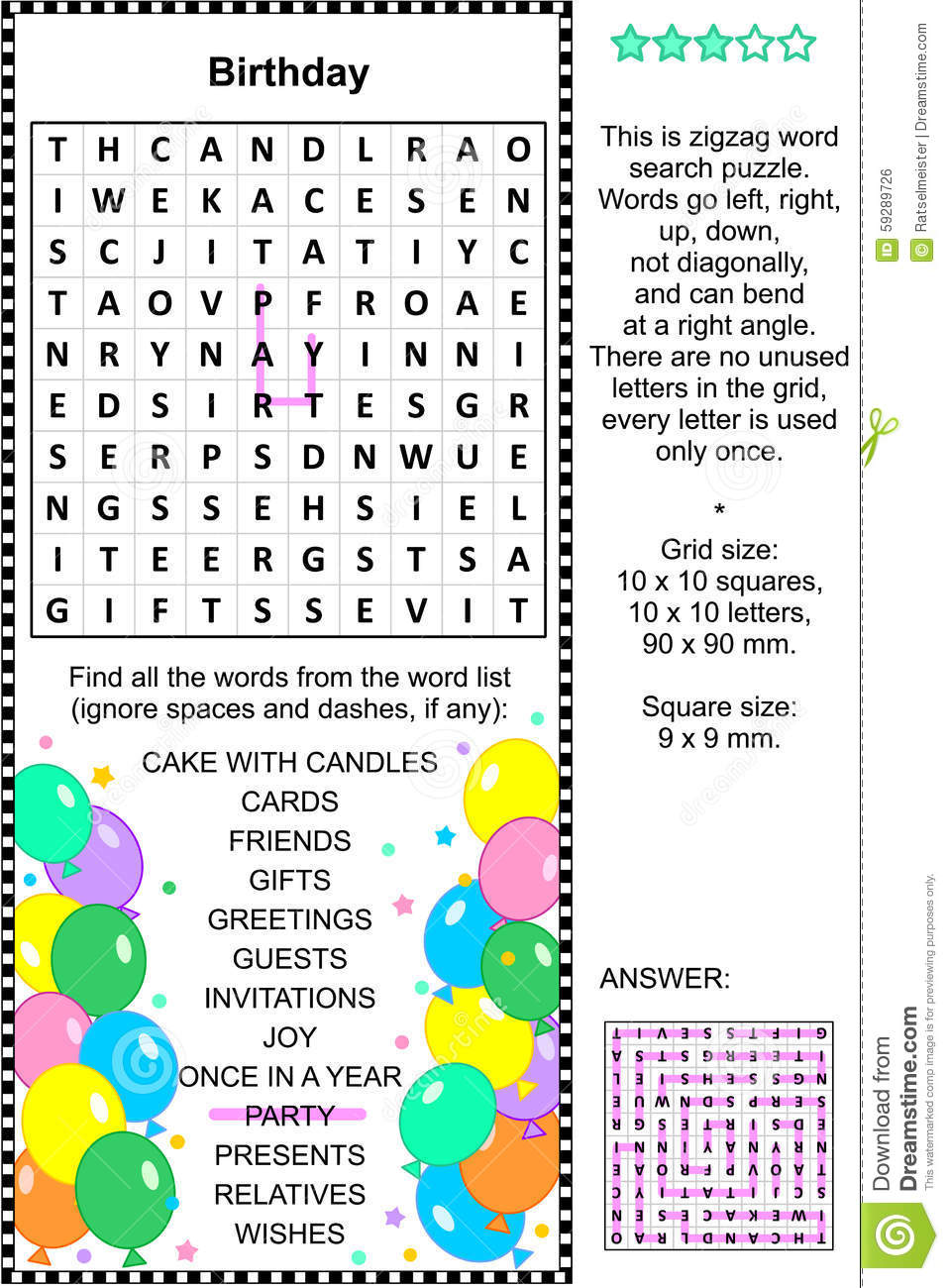 Birthday themed word search puzzle (english language). Answer included ...