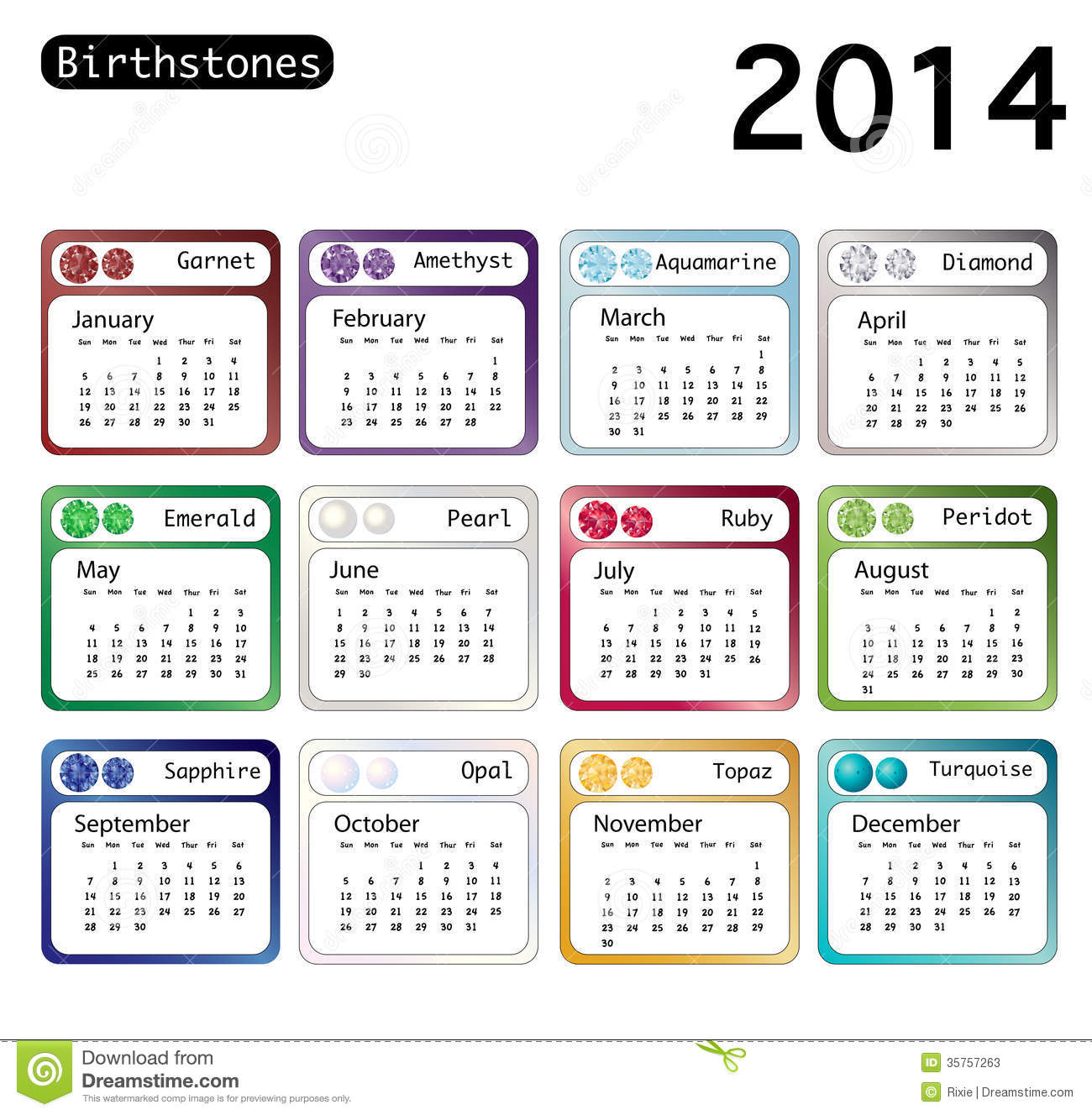 Calendar Quotes For Each Day : Birthstone calendar stock illustration image of