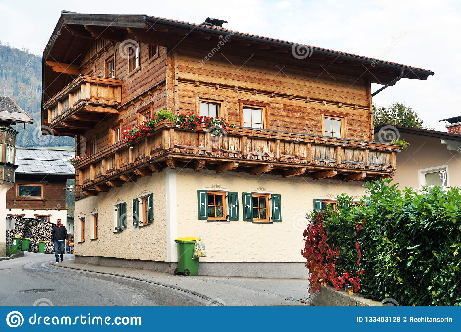 BISCHOFSHOFEN, AUSTRIA, EUROPE - 15 OCTOBER 2018: Arhitectural detail in the center of the town.