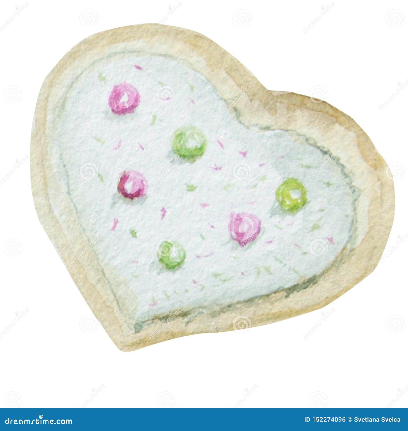Biscoitos caseiros do coração da aquarela Ilustração tirada mão da sobremesa