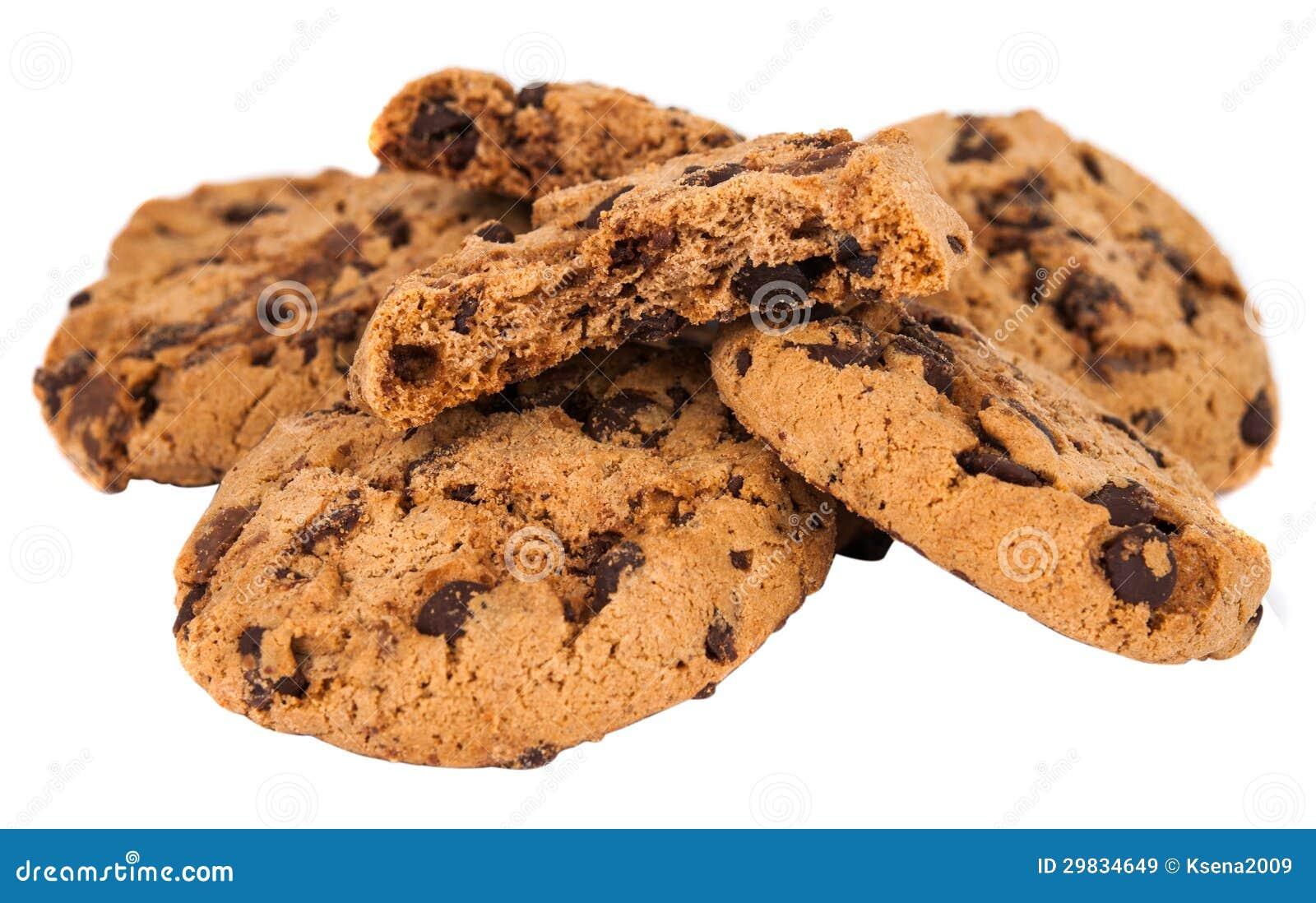 Biscoitos com o chocolate isolado