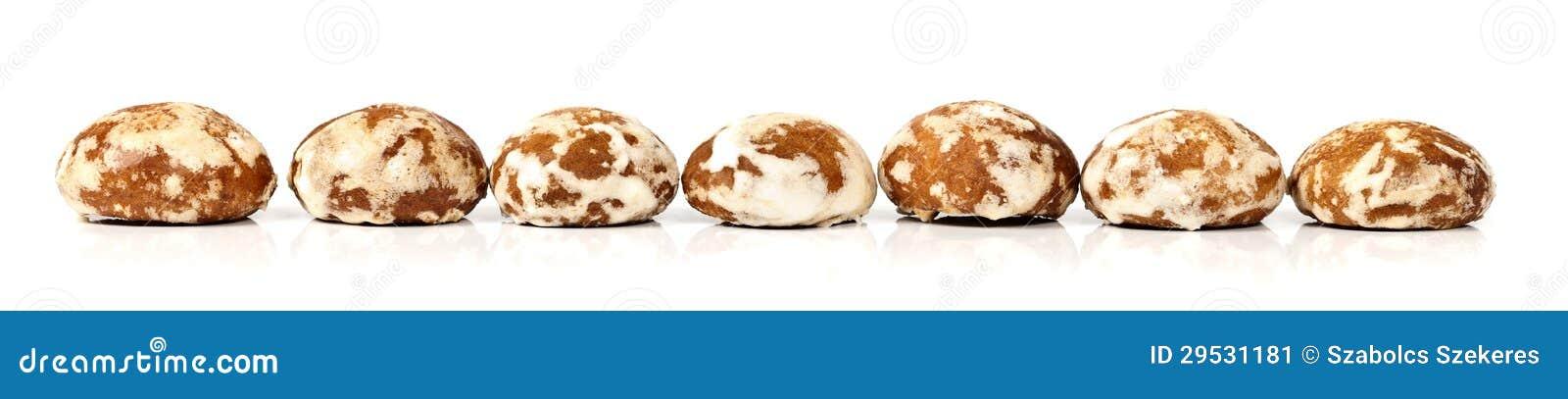 Biscoitos na fileira