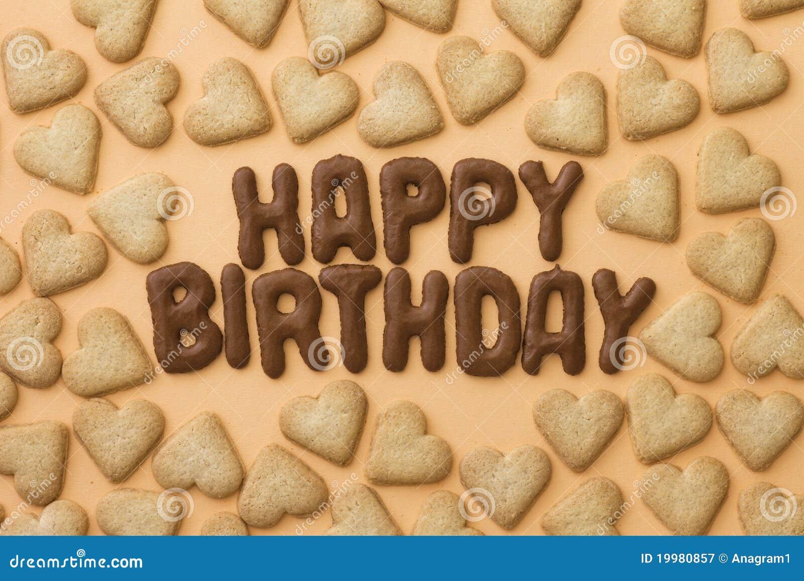Biscotti Del Cuore E Di Buon Compleanno Immagine Stock Immagine Di