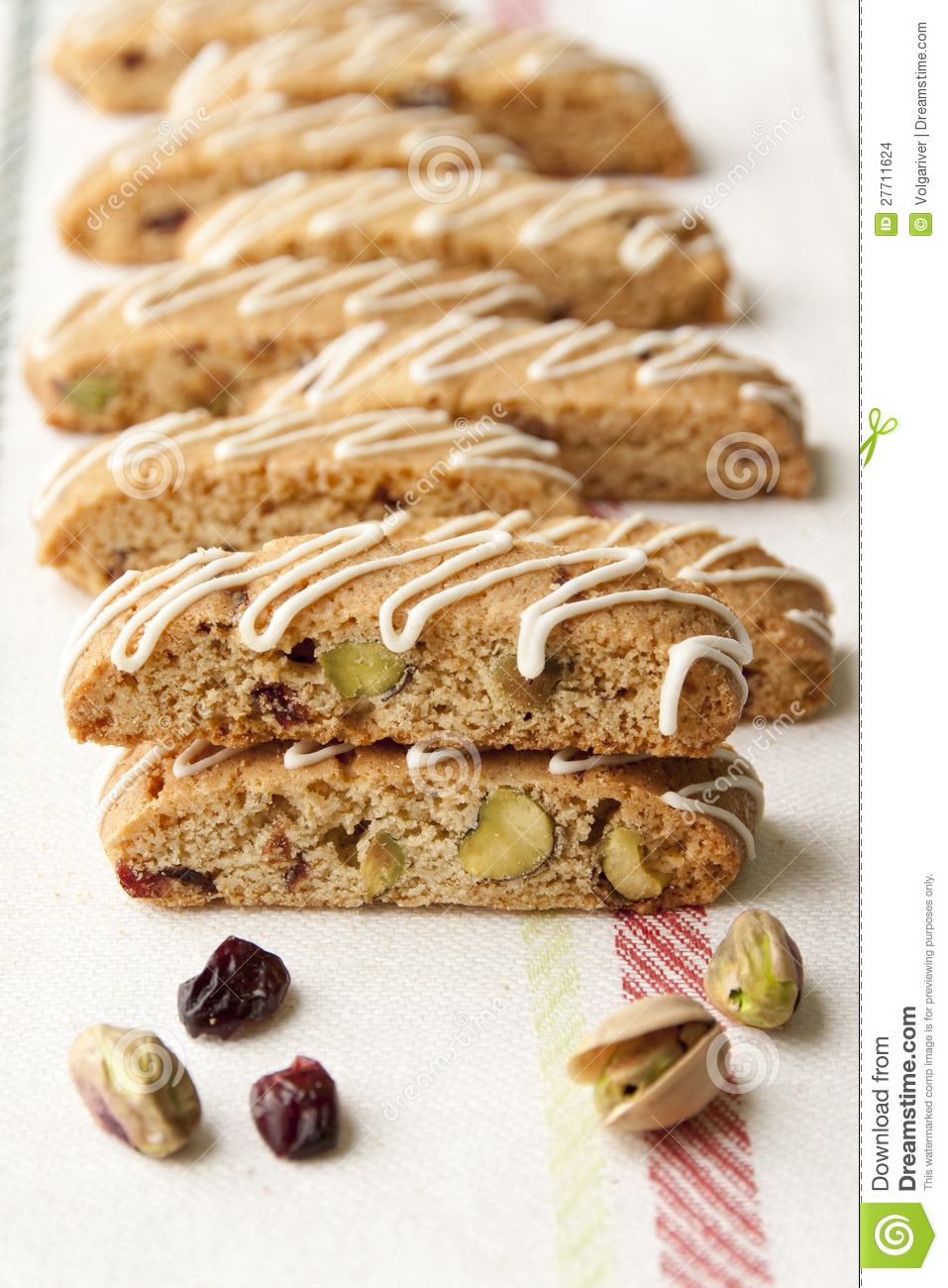 Biscotti with pistachio and cranberry.