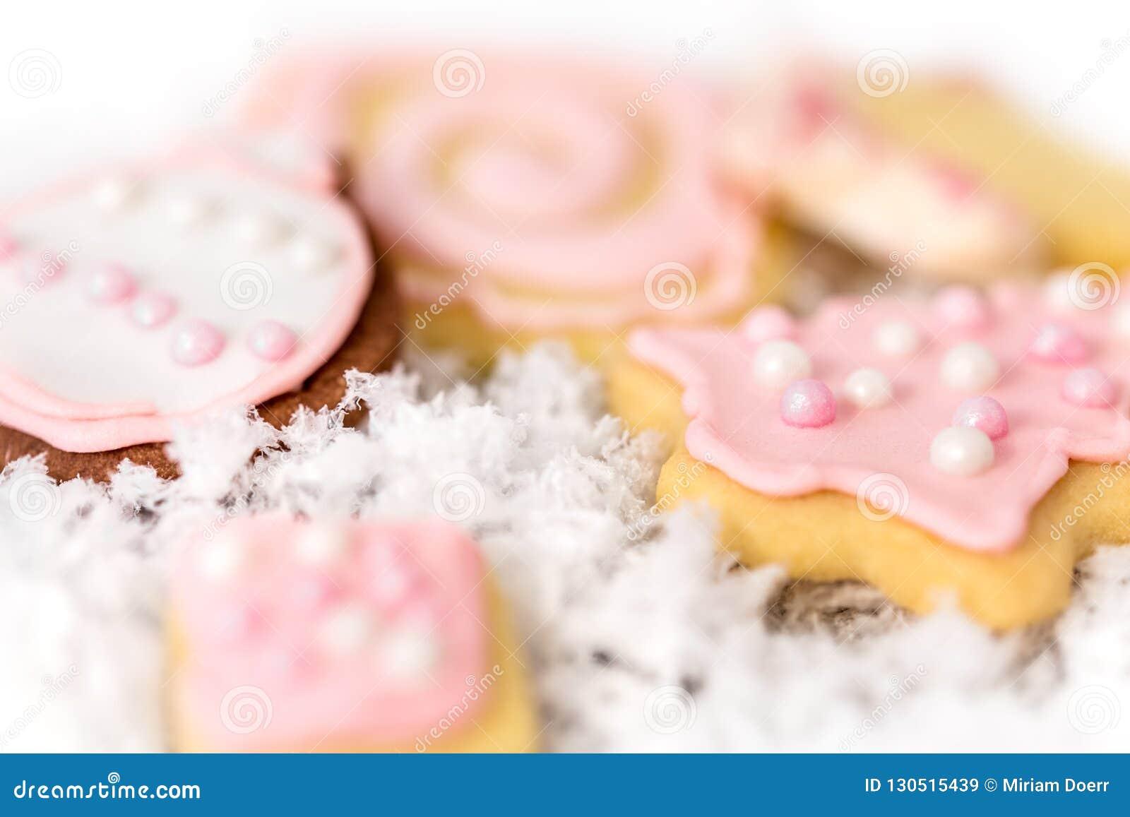 Rose Di Natale Dolci.Biscotti Rosa Dolci Di Natale Con Fondo Homemad Di Concetto