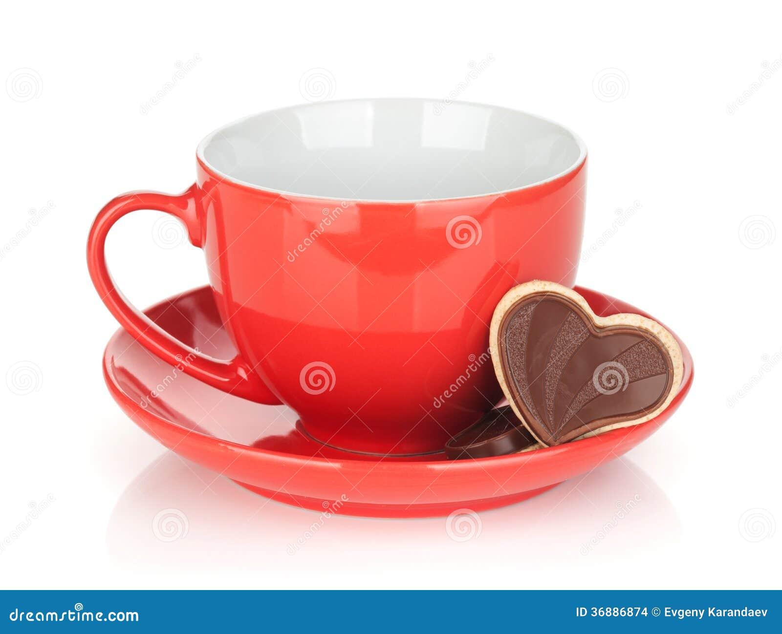 Download Biscotti Rossi Della Tazza E Del Cioccolato Di Caffè Fotografia Stock - Immagine di biscotto, decorativo: 36886874