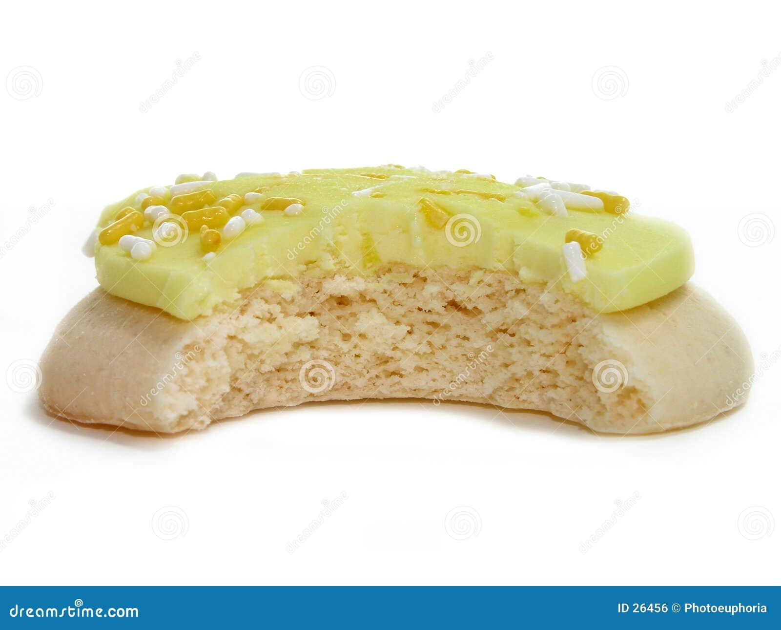 Biscotto del limone con il morso eliminato