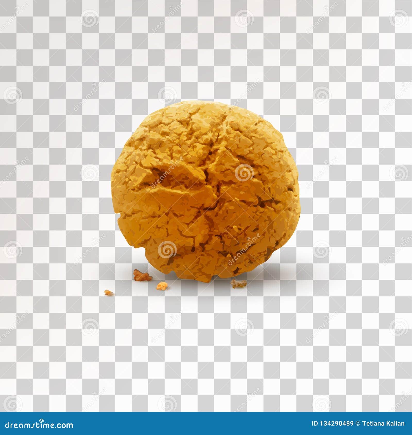 Biscuit brun rond avec des miettes d isolement sur le fond transparent Illustration réaliste de vecteur