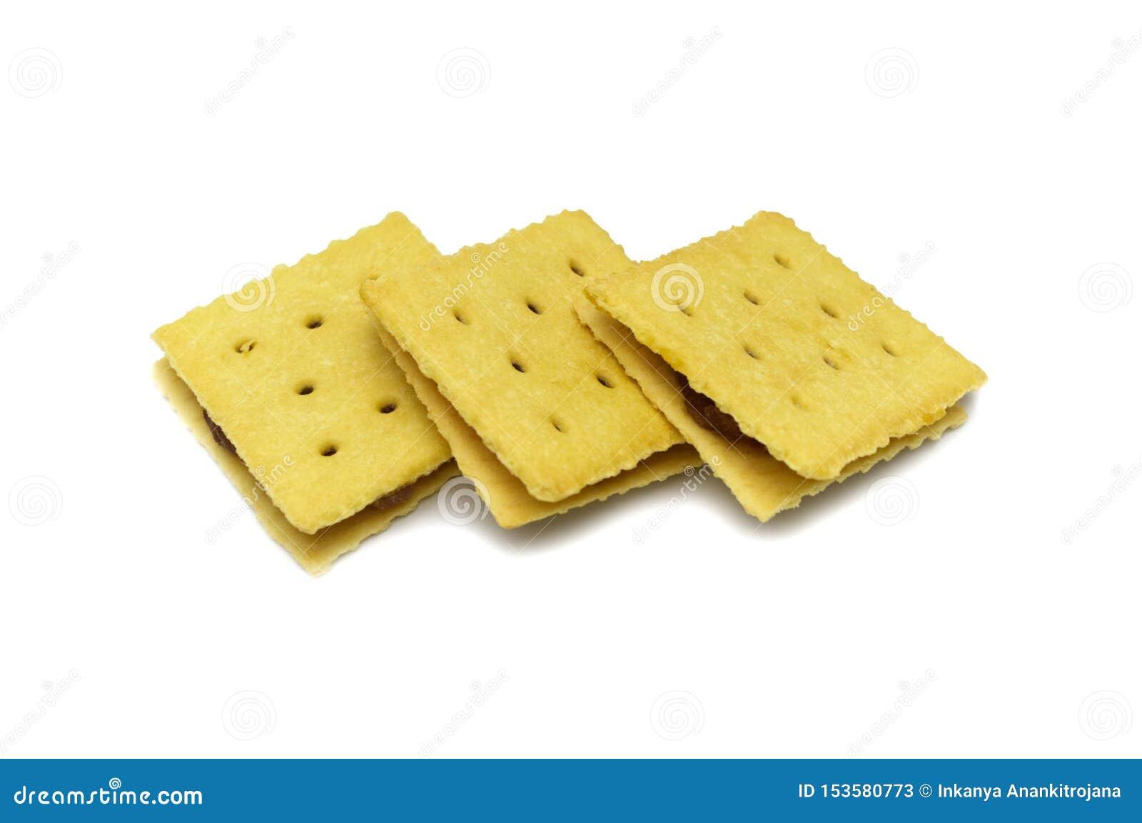 Biscuit de biscuits fait maison Confiture et doux d ananas assaisonnés Conception carr?e
