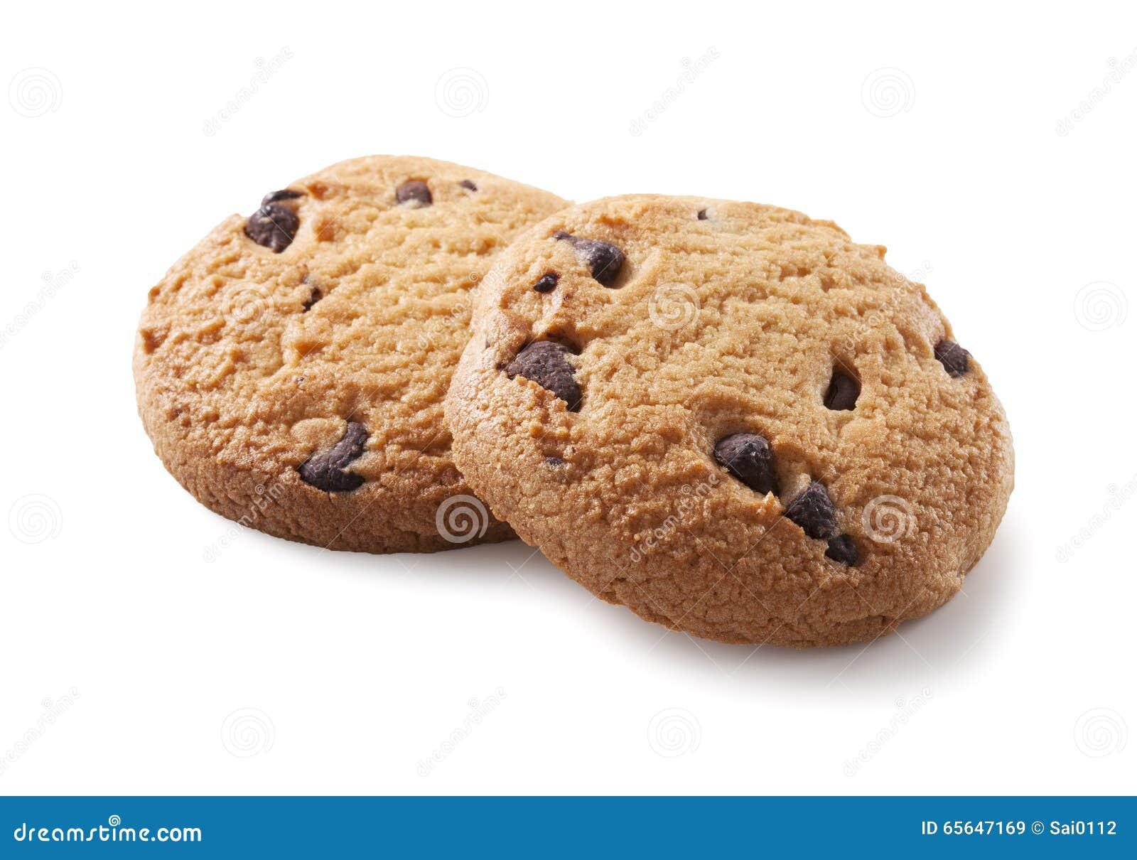 Biscuit de puce de chocolat sur le blanc