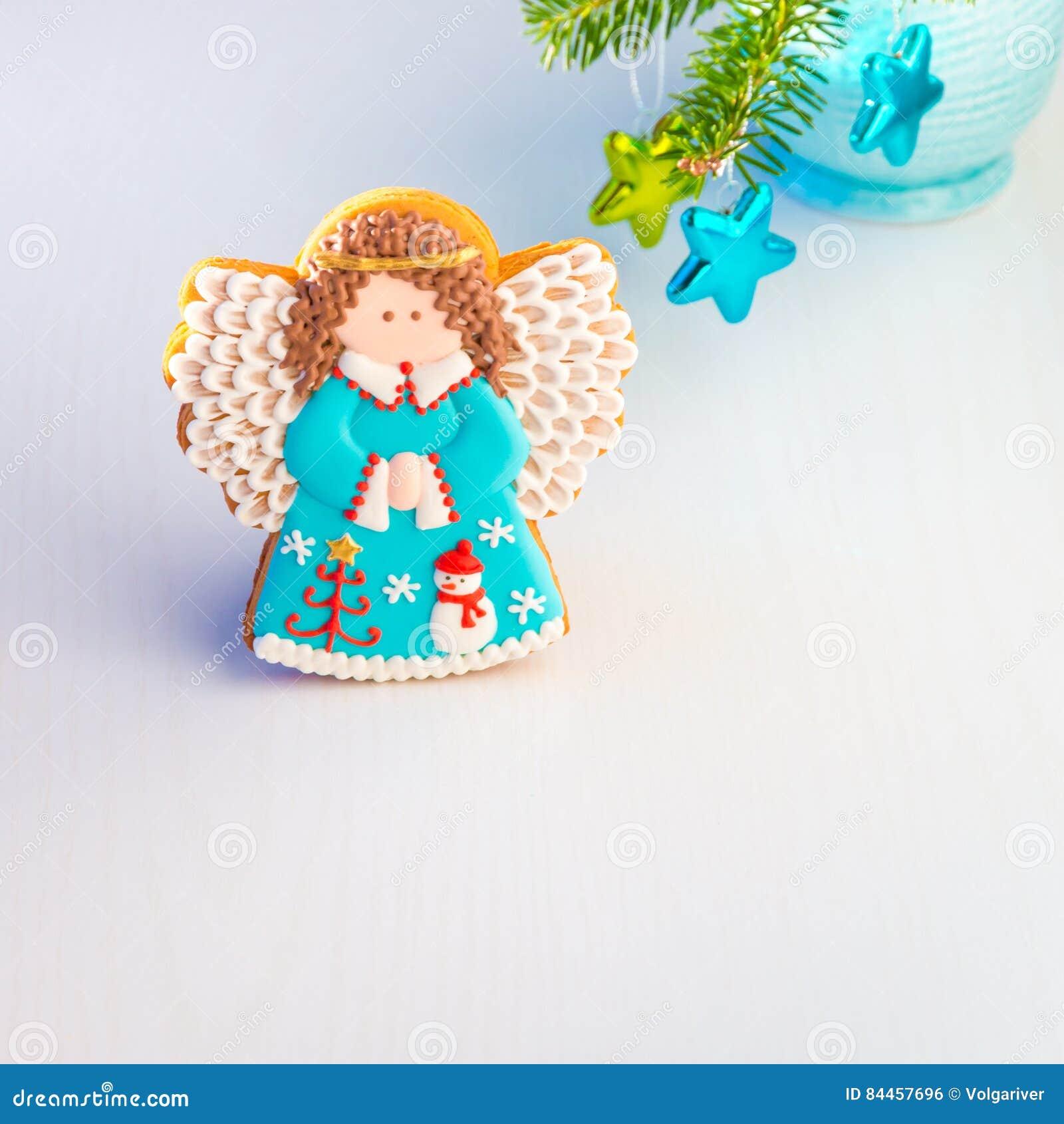 Biscuit Fait Maison D Ange Avec La Decoration De Noel Photo