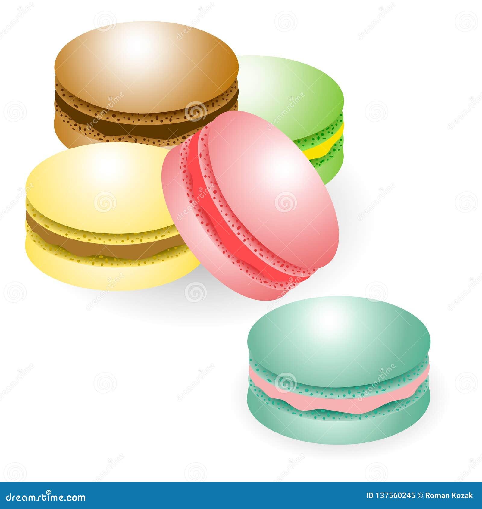 Biscuits de macarons d isolement sur le fond blanc