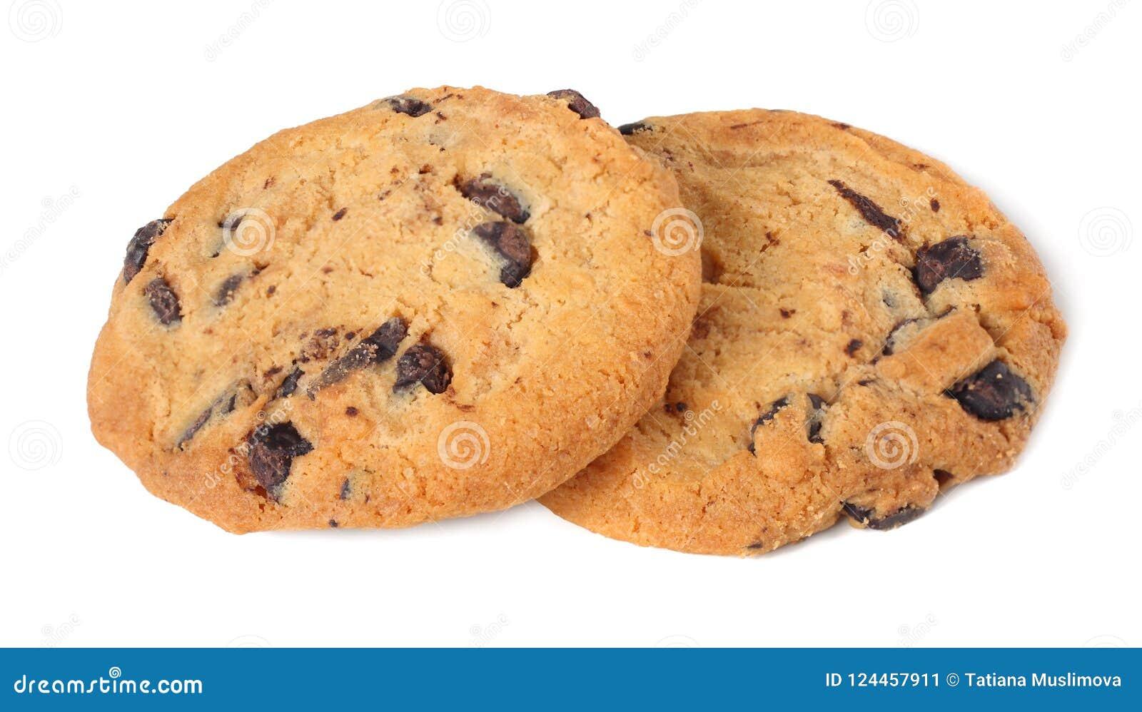 Biscuits de puce de chocolat d isolement sur le fond blanc biscuits doux Pâtisserie faite maison
