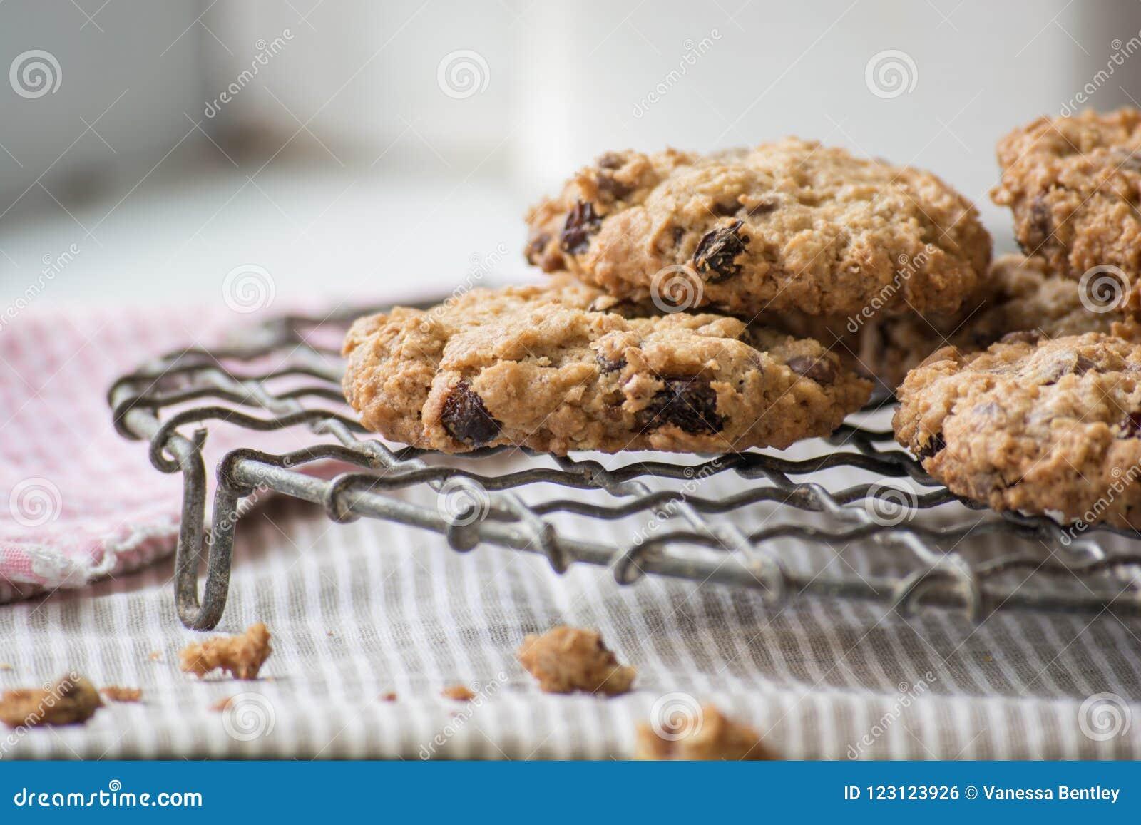 Biscuits faits maison caoutchouteux de farine d avoine sur un support de refroidissement de fil