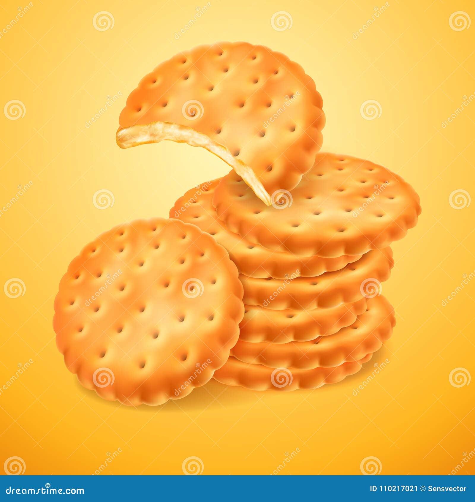 Biscuits ou biscuits délicieux ronds d isolement sur le fond jaune La forme mordue du biscuit Cuisson croustillante Vecteur 3D