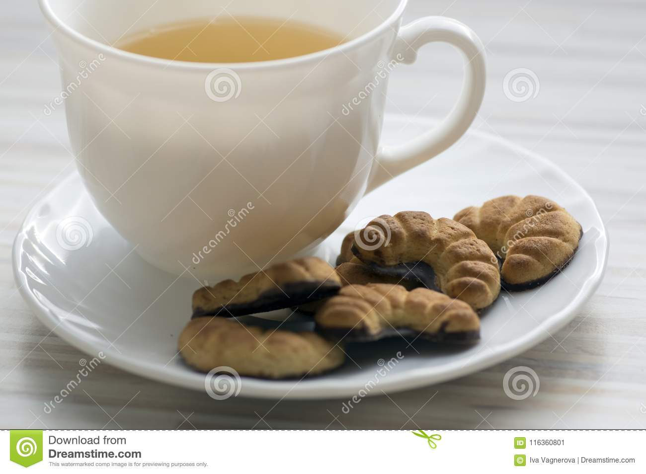 Biscuits Rolls On White Plate Tasty Chocolate Sweets For