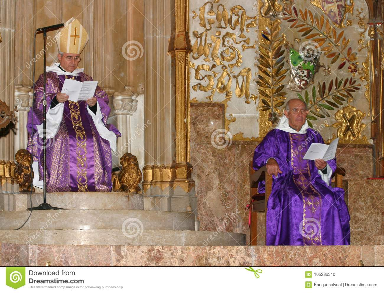 Bishop and Priest at mass in Palma de Mallorca cathedral